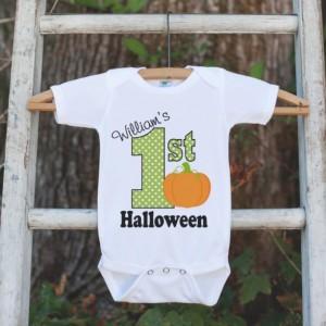 Baby Halloween Outfit - First Halloween Shirt - Halloween Onepiece - Baby's First Halloween With Pumpkin - Baby Boy's My First Halloween Top