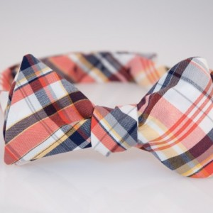 Bow Tie - Orange/Navy/White/Yellow Plaid