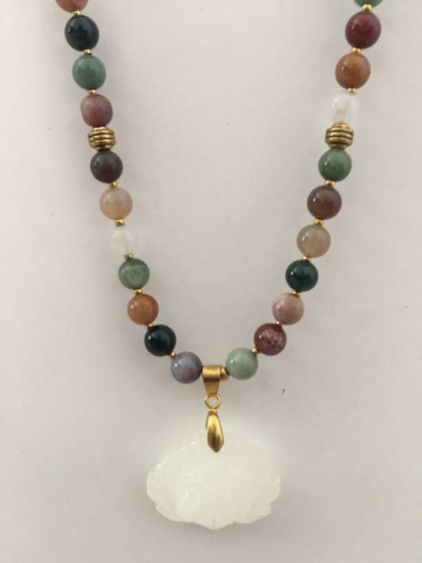 Gorgeous Agate Beaded Necklace with Jade Pendant, Multi Color Beads