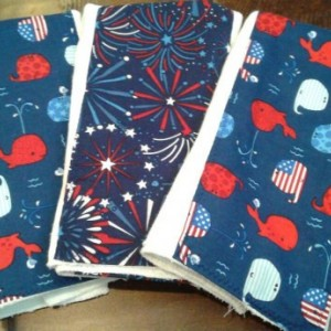 WHALES baby burp cloth set red white blue premium diaper fireworks fourth of July  shower gift present 4th of July