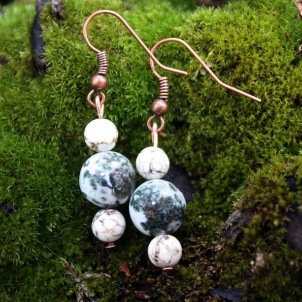 Fancy jasper copper earrings with howlite accents