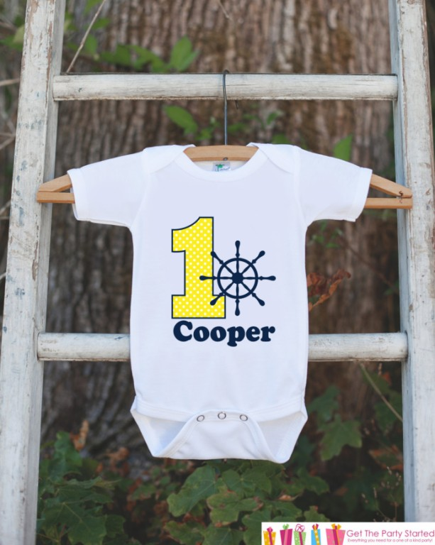 First Birthday Nautical Outfit - Personalized Bodysuit For Boy's 1st Birthday Party - Yellow and Navy Boat Wheel Birthday Party Onepiece