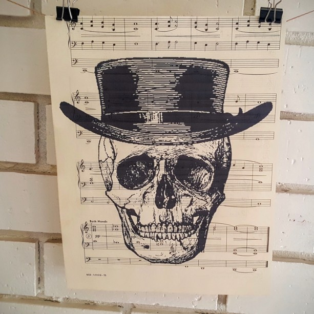 Upcycled Sheet Music Print – Vintage Skull in Hat
