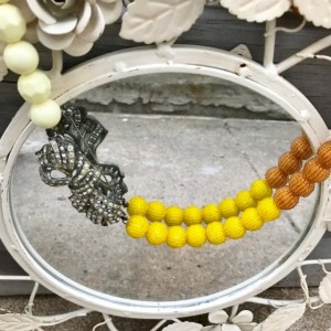 Repurposed, Vintage Chunky Textured Beaded Necklace, Butterscotch, Yellow, Cream with Rhinestone Bow Brooch, Statement Piece