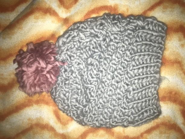 Gray Hat with Pom-Pom