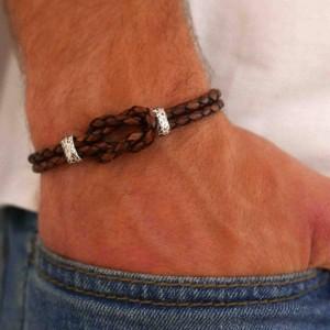 Men's Knot Bracelet - Men's Cuff Bracelet - Men's Leather Bracelet - Men's Bracelet - Men's Jewelry - Men's Gift - Husband Gift - Boyfriend