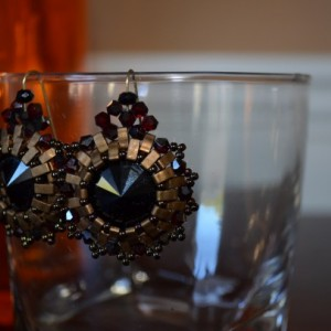 E5- Swarovski crystal earrings with bronze half tila beads