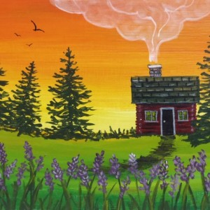 """""""Cabin with Purple Flowers"""" original painting"""