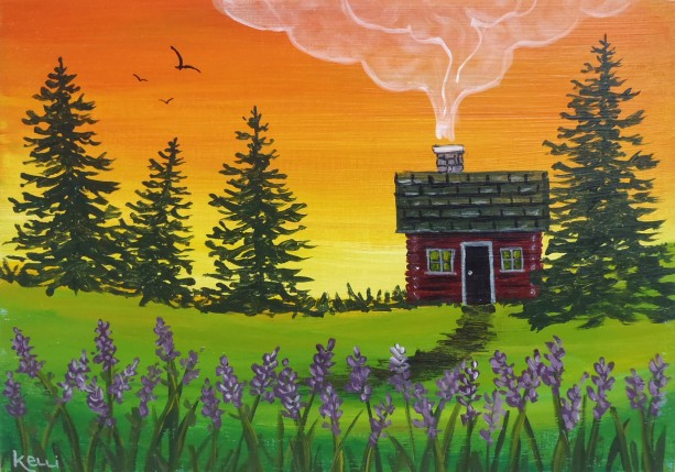 """Cabin with Purple Flowers"" original painting"