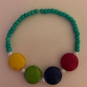 Kids Jewelry Set Blue Glass And Multi Colored Acrylic Beads