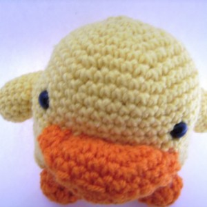 Yellow Crochet Toy Duck Easter Basket Filler
