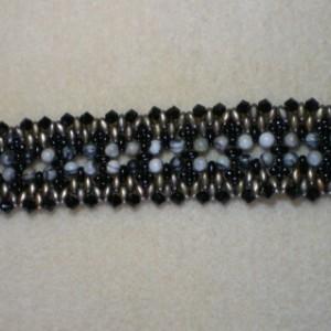 Bold Black Bracelet, Hand Woven