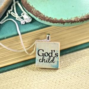 God's Child Inspirational Scrabble Tile Charm Necklace