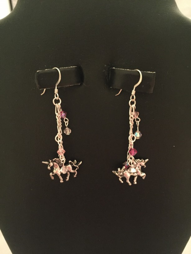 Sterling Silver and Swarovski Crystal Unicorn Dangle Earrings