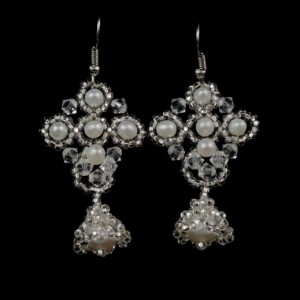 Swarovski crystal + white freshwater pearl beaded earrings. freshwater pearl beaded bridal earrings. Swarovski crystal wedding bell earrings