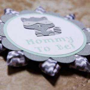 Raccoon themed name tag button pin grey chevron ribbon- mint green (Quantity 2)