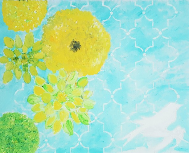 Oil Painting on Canvas- Original Artwork-  Aqua Yellow Green Floral Art-16x20-Botanical-Sarah Floyd