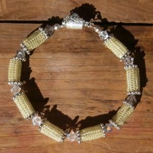 Celery green beaded bead  & crystal bracelet