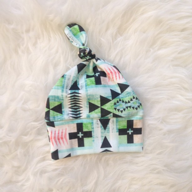 Organic Newborn Baby Knotted Hat | Teal Tribal Print