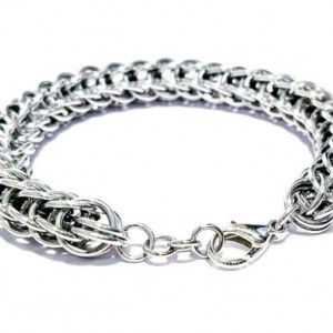 Silver chainmaille bracelet Full Persian weave 6 in 1