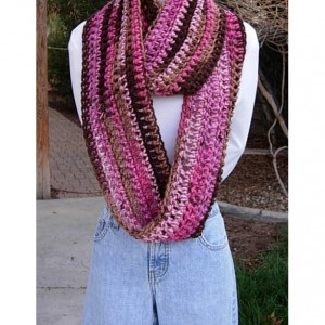 INFINITY SCARF Loop Cowl, Pink, Magenta, Tan, Brown Long Winter Scarf, Soft Striped Crochet Knit Winter Wrap, Ready to Ship in 3 Days