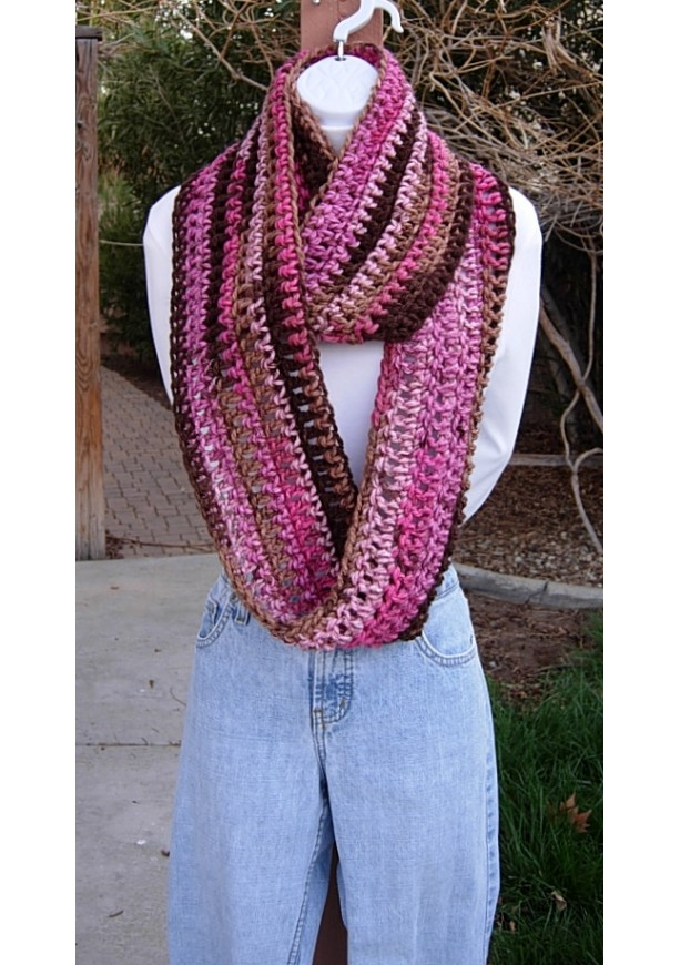 Pink And Brown Winter Infinity Scarf Soft Crochet Knit