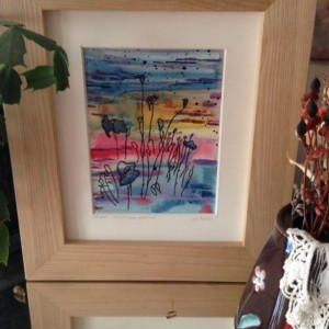 Original  Absrtact Watercolor Painting with Pen and Ink Drawing of Poppies on a Multicolored background in a Handmade soild wood maple frame