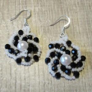 """Beaded Earrings Handwoven Black & White Swirl 2"""" Long"""