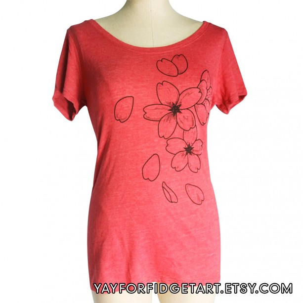 Heather Red Sakura, Cherry Blossom Organic Women's Scoop Neck T-Shirt, Triblend, Screen Printed, Gifts For Her, Made in USA
