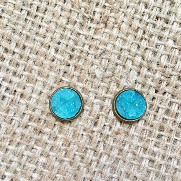 Blue Druzy Studs, Faux Druzy Studs, Neon Druzy Studs, Druzy Post Earrings, Blue Gemstone Studs, Matte Druzy Studs, Blue Druzy Jewelry