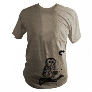 Light Brown Coffee Owl, Triblend T-Shirt, Screen Printed, Bird, Moon, Unisex, Men, Women, Made in USA - Gifts for Him or Her