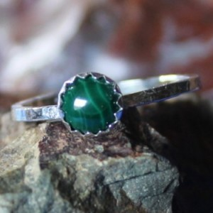 Sterling Silver and Malachite Ring, Cabochon Sterling Ring, Stackable Sterling and Malachite Ring, Malachite Ring