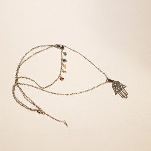 Hamsa Pendant Necklace with 7 Chakra Gemstones