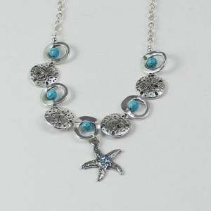 Turquoise and Silver Starfish Pendant Necklace 17""