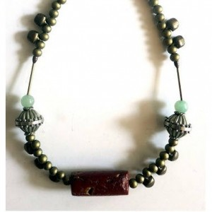 tribal art gallery choker with antique bauxite and brass