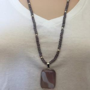 Light Purple Small Beaded Necklace, Beaded Purple Necklace, Glass Pendant Necklace, Square Glass