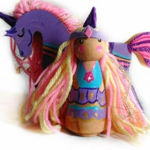 Unicorn Princess doll - Unicorn toy - Unicorn peg doll - Unicorn gift - Girls toys - Wooden toys - Dollhouse dolls - Unicorn decor - pony
