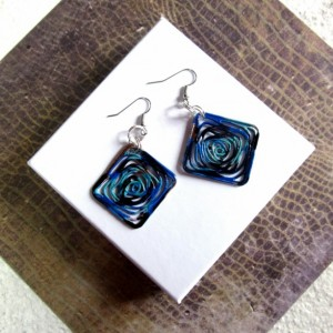 Abstract Earrings, Blue Earrings Square Earrings Geometric Earrings, Diamond Shaped Earrings, Spiral Earrings, New Wave Earrings, Blue Black