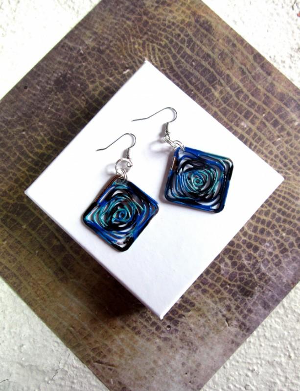 Abstract Earrings, Blue Earrings Square Earrings Geometric Earrings, Diamond Shaped Earrings, Spiral Earrings, New Wave Earrings, Blue Black