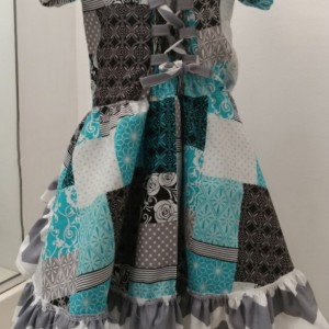Gray and Blue Ruffle Dress