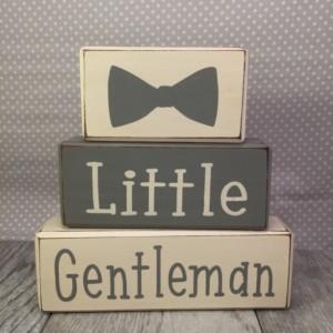 Little gentleman baby shower dapper baby boy stacking wood sign blocks bowtie mustache little man custom personalized shelf sitter