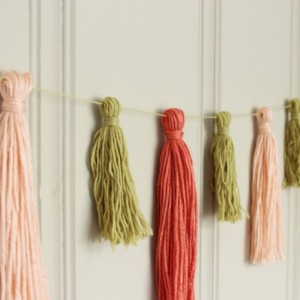 Yarn Tassel Garland No. 4 - Tassel Decor - Wedding Decor - Nursery Decor - Wall Hanging - Peach and Citron - Ready to Ship