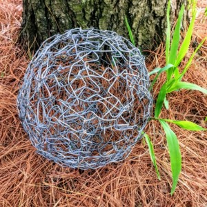 RE-PURPOSED BENT WIRE SPHERE BY JEFFERY WEATHERFORD