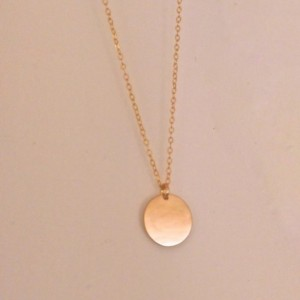 Simple gold disc necklace, 14k gold tag necklace, Delicate Disc Necklace, Dainty Gold Tag, little gold circle necklace, gold circle tag