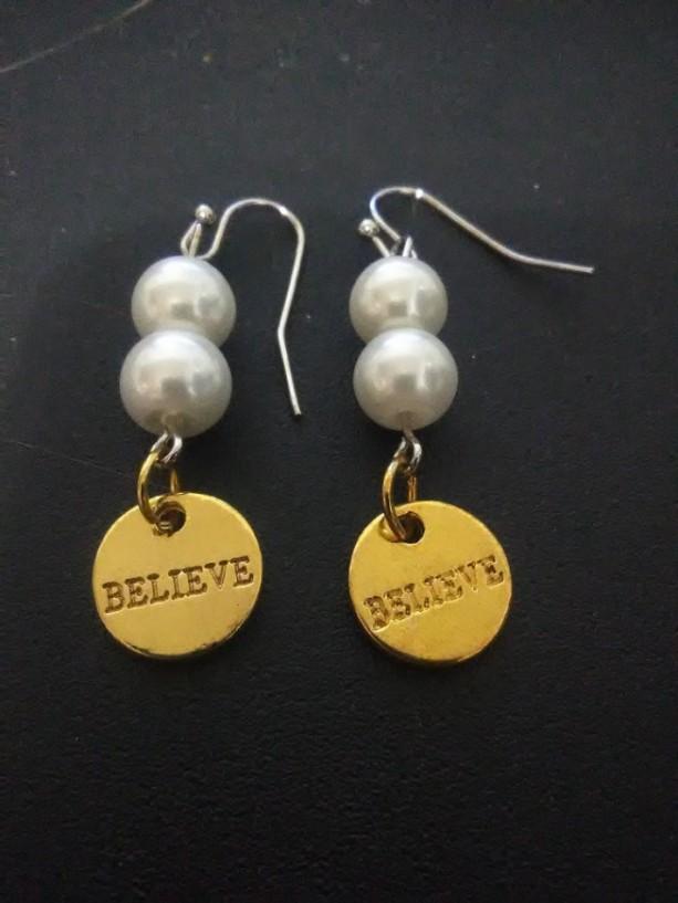Believe Gold Charm Earrings