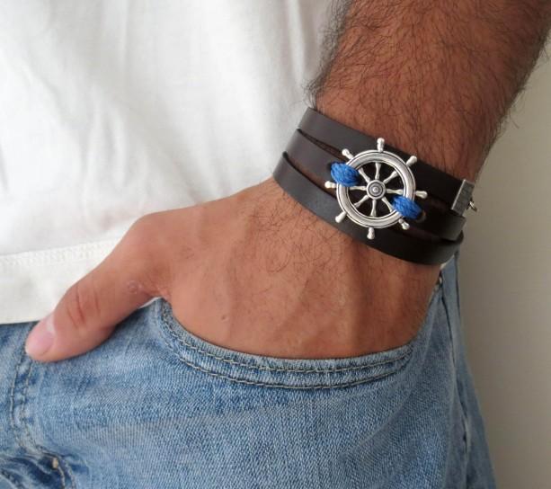 Men's Bracelet - Men's Nautical Bracelet - Men's Leather Bracelet - Men's Jewelry - Men's Gift - Husband Gift - Boyfriend Gift - Male