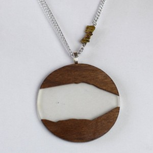 Resin and Wood Pendant - Handmade with Stone Accent on 2 Silver Chains