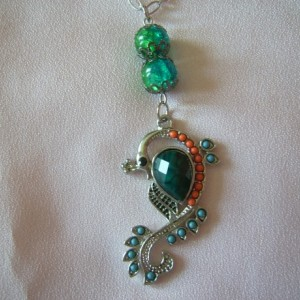 Rainbow Peacock Pendant Necklace and Earring Set