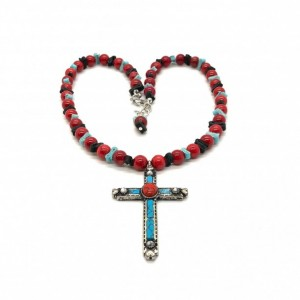 Boho Coral Necklace with Cross, Turquoise and Black Leather Spacers