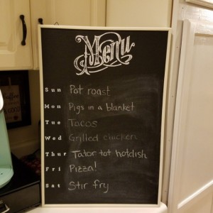 White Frame Menu Chalkboard Sign